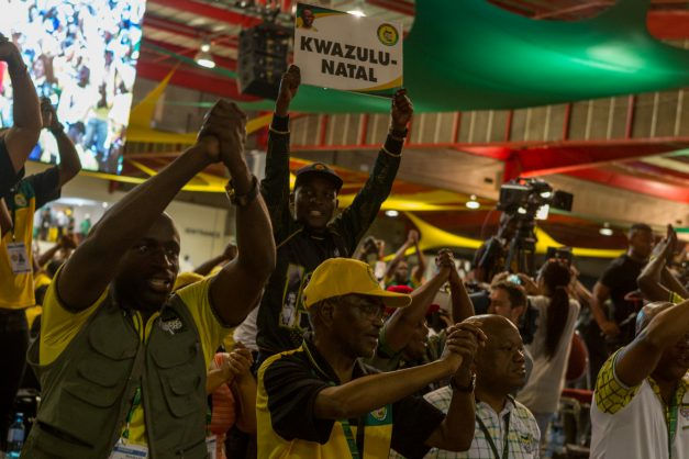 ANC delegates celebrate during the nominations at the ANC's 54th National Elective Conference at Nasrec, Johannesburg, on 17  December 2017. The ANC gathers to elect new leadership, including a new party president for which Cyril Ramaphosa and Nkosazana Dlamini-Zuma are the candidates. Picture: Yeshiel Panchia