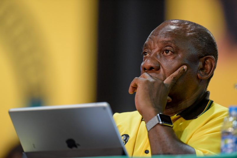ANC presidential candidate Cyril Ramaphosa sits during nominations at the ANC's 54th National Elective Conference at Nasrec, Johannesburg, on 17  December 2017. The ANC gathers to elect new leadership, including a new party president for which Cyril Ramaphosa and Nkosazana Dlamini-Zuma are the candidates. Picture: Yeshiel Panchia