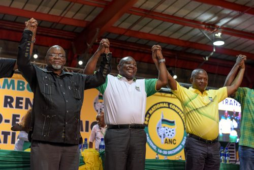 The newly elected National Chair Gwede Mantashe, ANC President Cyril Ramaphosa and Deputy President David Mabuza stand and celebrate together at the ANC's 54th National Elective Conference at Nasrec, Johannesburg on 18 December 2017. The conference saw new leadership elected including a new president of the ANC. Picture: Yeshiel Panchia