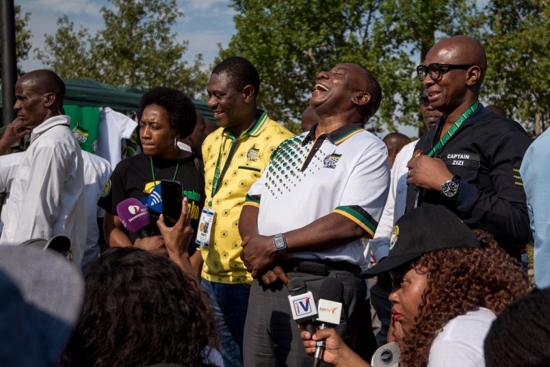 A woman takes a selfie with newly elected ANC President Cyril Ramaphosa at the ANC's 54th National Elective Conference at Nasrec, Johannesburg on19 December 2017. The ANC President conducted a media walkabout tour, speaking to SMME's about their businesses. Picture: Yeshiel Panchia