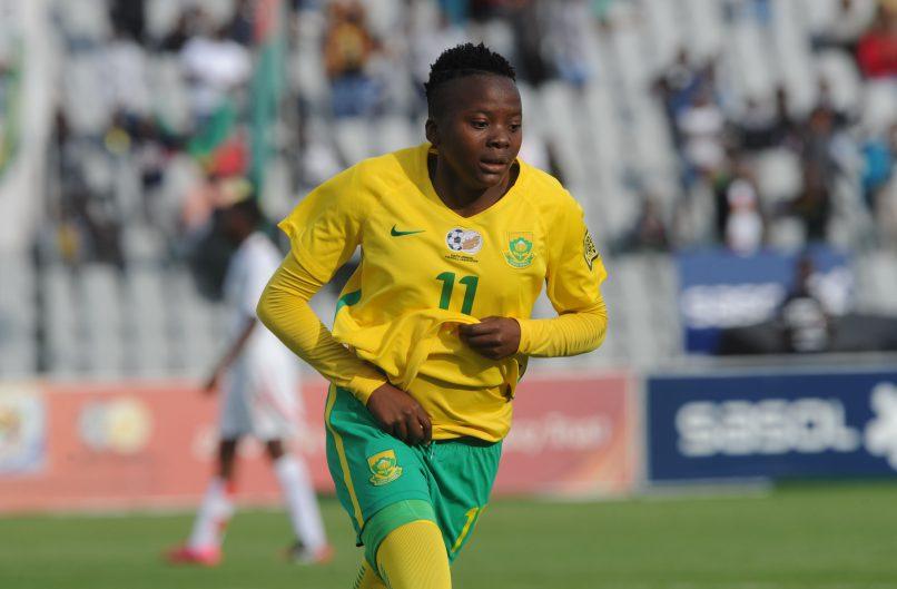 Thembi Kgatlana of South Africa celebrates a goal (Sydney Mahlangu/BackpagePix)