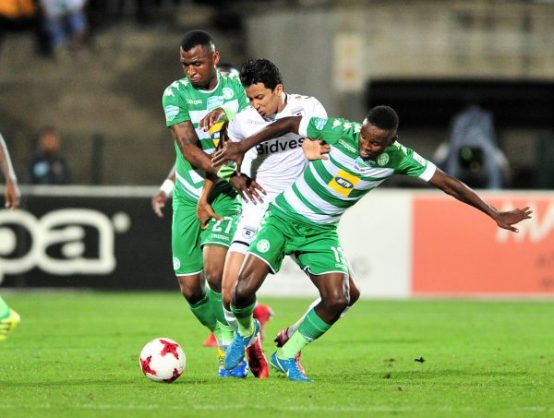 Amr Gamal of Bidvest Wits challenged by Alfred Ndengane and Victor Letsoalo of Bloemfontein Celtic during the 2017 Telkom Knockout final football match between Bidvest Wits and Bloemfontein Celtic at Princess Magogo Stadium (Samuel Shivambu/BackpagePix)