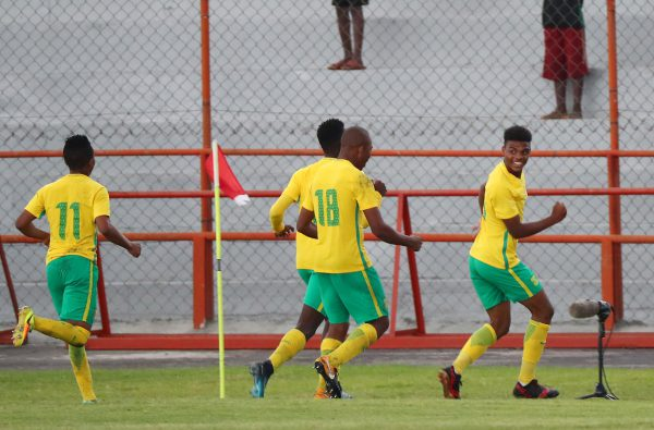 Lyle Foster of South Africa celebrates goal during the 2017 COSAFA U20 football match between South Africa and Mauritius at Nkana Stadium. (Chris Ricco/BackpagePix)