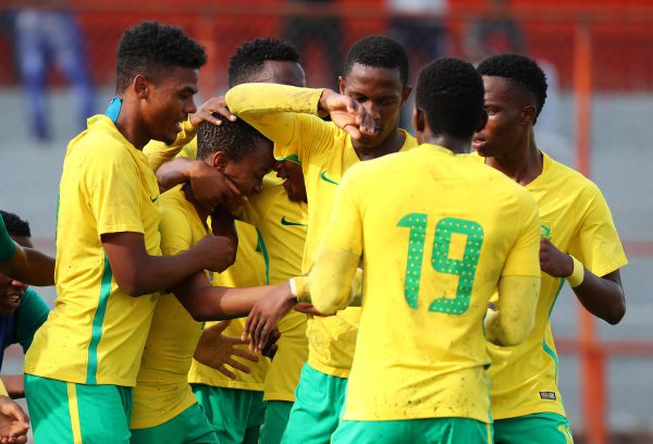 Nkosingiphile Ngcobo of South Africa celebrates goal with teammates during the 2017 COSAFA U20 football match between South Africa and Egypt in Kitwe. (Chris Ricco/BackpagePix)