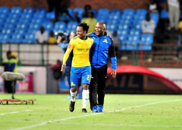 Percy Tau of Mamelodi Sundowns celebrates a goal with Pitso Mosimane, coach of Mamelodi Sundowns (Samuel Shivambu/BackpagePix)