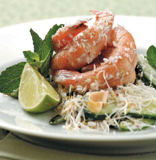 Coconut prawns with mint and lemongrass.