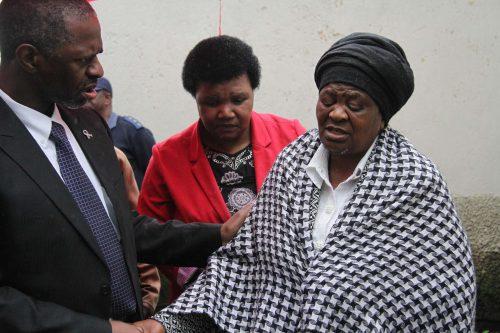 KZN MEC for Health Sibongiseni Dhlomo comforts Mancane Ngeleka, a grandmother of late student Sibusiso Ngeleka (Pic supplied: KZN Health)