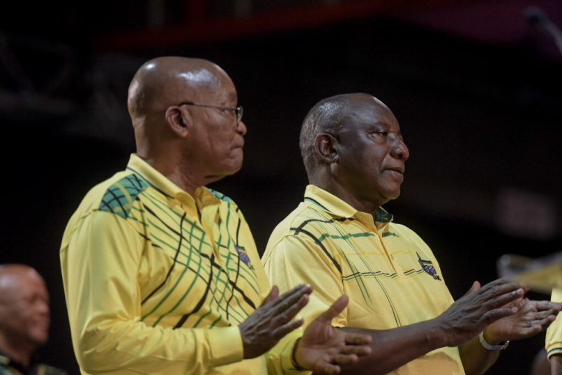 Outgoing ANC president Jacob Zuma stands alongside presidential hopeful Cyril Ramaphosa to address delegates at the ANC National Elective Conference at Nasrec, Johannesburg on 16 December 2017. Picture: Yeshiel Panchia