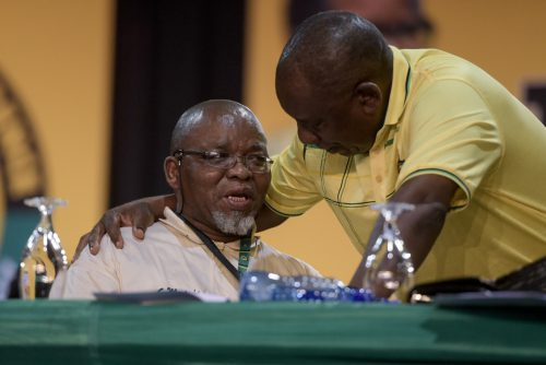 Gwede Mantashe speaks with Cyril Ramaphosa at the ANC National Elective Conference at Nasrec, Johannesburg on 16 December 2017. Picture: Yeshiel Panchia