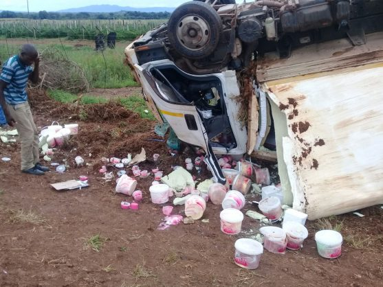 A truck delivering ice cream overturned on the R36. Photo: Billy Sibuyi
