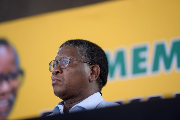 Fikile Mbalula rubs his head during a media briefing about the results of the ANC's Strategy and Tactics panel at the party's 54th National Elective Conference at Nasrec, Johannesburg on 20 December 2017. Nathi Mthethwa and Mbalula spoke about changes in the panel's policy, the importance of gender equity and the need to institute an inquiry on state capture. Picture: Yeshiel Panchia
