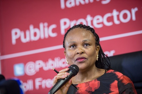 Public Protector Adv. Busisiwe Mkhwebane is seen during a press briefing held at her offices, 4 December 2017, Pretoria. Picture: Jacques Nelles