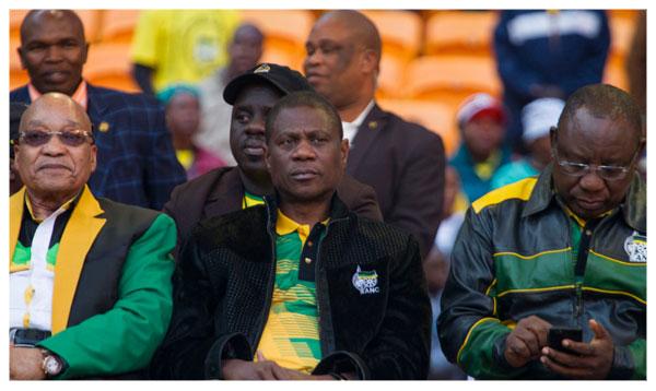 Cyril Ramaphosa, Paul Mashatile and Jacob Zuma at Polokwane Conference. Supplied.