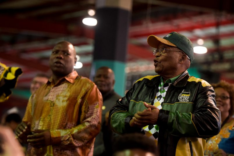 Former President of the ANC Jacob Zuma dances during the closing of the 54th National Elective Conference at Nasrec, Johannesburg, on 21 December 2017. The closing ceremony outlined broad policy approaches of the new leadership, which included expropriating land without compensation, free education and a crackdown on corruption. Picture: Yeshiel Panchia