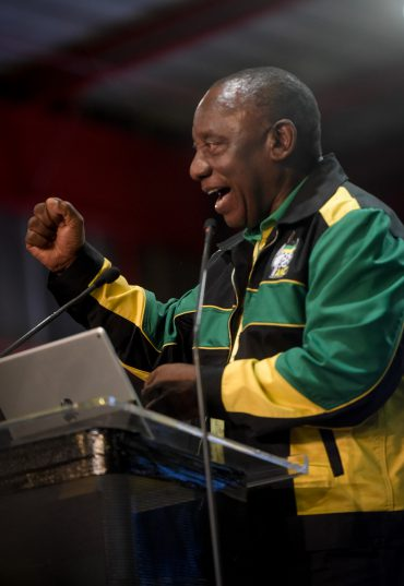 Newly elected President of the ANC Cyril Ramaphosa gives a speech at the closing of the 54th National Elective Conference at Nasrec, Johannesburg, on 21 December 2017. The closing ceremony outlined broad policy approaches of the new leadership, which included expropriating land without compensation, free education and a crackdown on corruption. Picture: Yeshiel Panchia