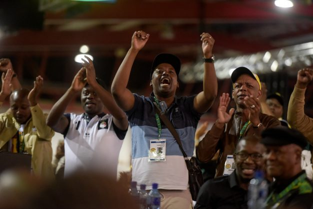 ANC delegates cheer during the closing of the 54th National Elective Conference at Nasrec, Johannesburg, on 21 December 2017. The closing ceremony outlined broad policy approaches of the new leadership, which included expropriating land without compensation, free education and a crackdown on corruption. Picture: Yeshiel Panchia