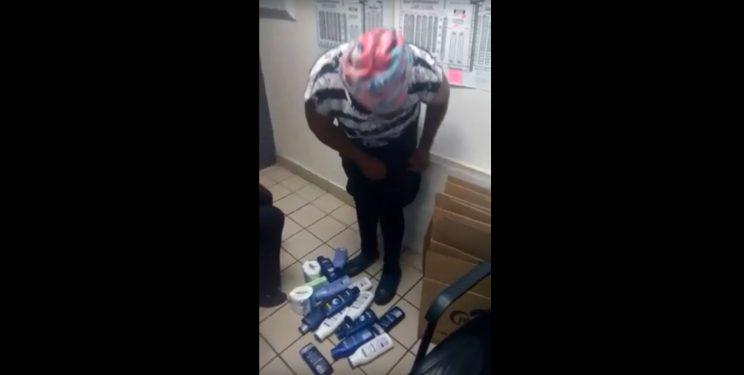 Lady caught shoplifting at a supermarket