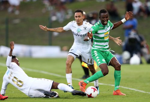 Daylon Claasen of Bidvest Wits and Ronald Pfumbidzai of Bloemfontein Celtic during the Telkom Knockout Final match between Bloemfontein Celtic and Bidvest Wits at Princess Magogo Stadium on December 02, 2017 in Durban, South Africa. (Photo by Anesh Debiky/Gallo Images)