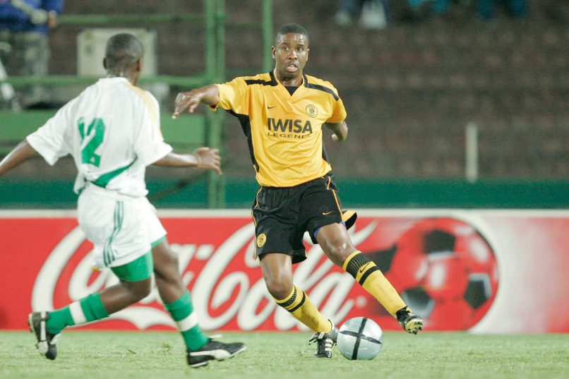 Abel Shongwe (R) and Sibusiso Mnisi during the Lucas Radebe Benefit match between the Chiefs Legends and the South Africa U17 side played at Kings Park Stadium (Photo by Lefty Shivambu  Gallo Images)