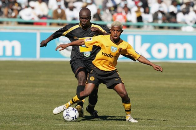 Junior Khanye gets past Nkhiphitheni Matombo during the Telkom Charity Cup match between Kaizer Chiefs and Black Leopards at the FNB Stadium in Johannesburg, South Africa. Photo Credit : - Tertius Pickard  Gallo Images