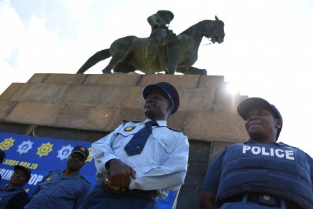 The National Police Commisioner General Khehla John Sitole is seen after addressing Police officers on the lawns of the Union Buildings, 8 December 2017, Pretoria. Picture: Jacques Nelles