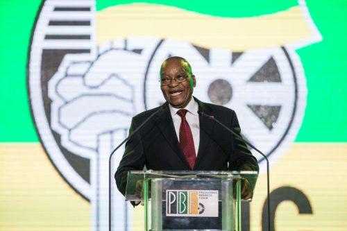 President Jacob Zuma speaks during a presidential Gala dinner at the NASREC Expo Centre in Johannesburg