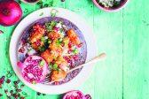 Recipe: Crispy orange, pomegranate-glazed chicken on herbed basmati rice