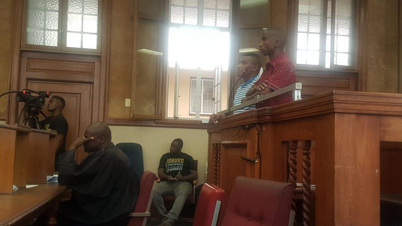 Alleged building hijackers Jonathan Constable and Bongani Khathide during their bail application on Friday at the Johannesburg Magistrate's Court. PHOTO: Lindi Masinga/ANA