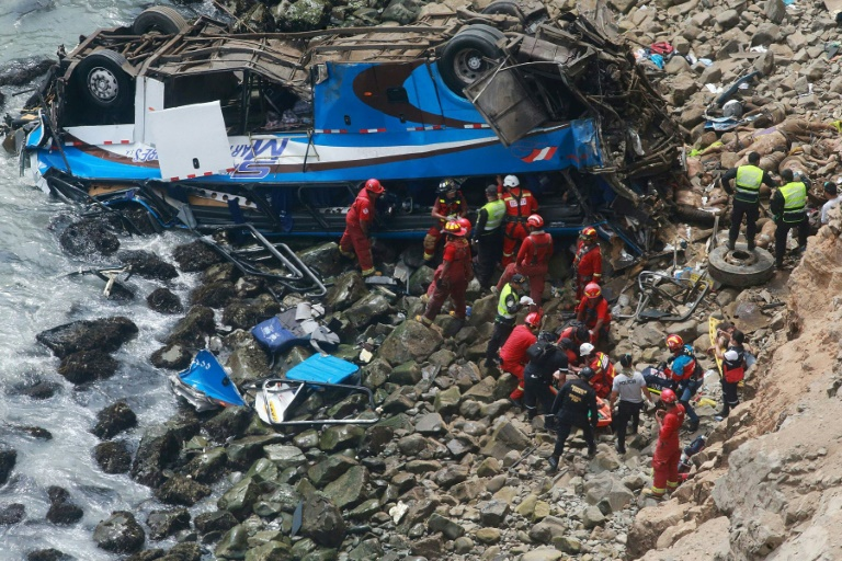 """Handout picture released by Peruvian agency Andina showing rescuers, police and firefighters working at the scene after a bus plunged off a cliff at a spot known as """"devil's curve"""""""