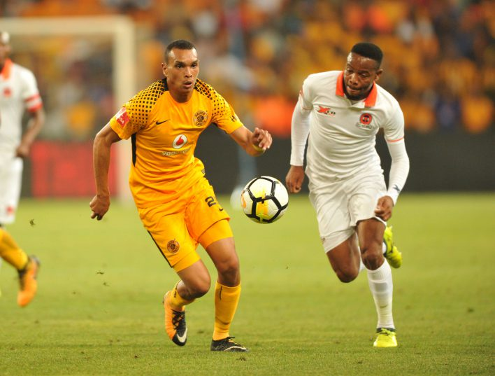 Ryan Moon of Kaizer Chiefs challenged by Thabiso Semenya of Polokwane City during Absa Premiership game between Kaizer Chuefs and Polokwane City at FNB Stadium (Aubrey Kgakatsi/BackpagePix)