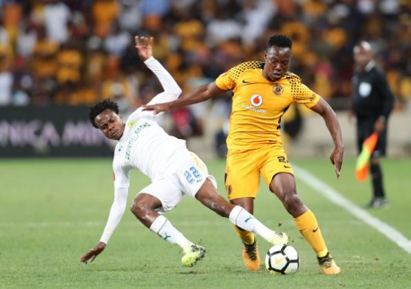 Philani Zulu of Kaizer Chiefs tackled by Percy Tau of Mamelodi Sundowns during the Absa Premiership 2017/18 match between Kaizer Chiefs and Mamelodi Sundowns at FNB Stadium, Johannesburg South Africa on 27 January 2018 ©Muzi Ntombela/BackpagePix