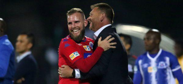 Jeremy Brockie celebrates a goal with SuperSport United coach Eric Tinkler