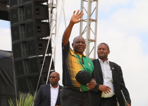 ANC president Cyril Ramaphosa greets members and supporters of the ANC at the Absa Stadium, East London. Picture: Twitter/@MYANC