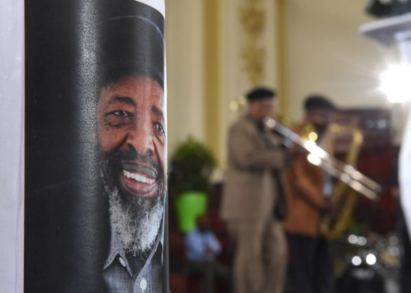 Musician Jonas Gwangwa pays tribute to his long time friend Prof Keorapetse Kgositsile during the South African Poet Laureate's memorial service held at City Hall in Johannesburg, 11 January 2018. Kgositsile died at the age of 79 after a brief illness. Picture: Refilwe Modise