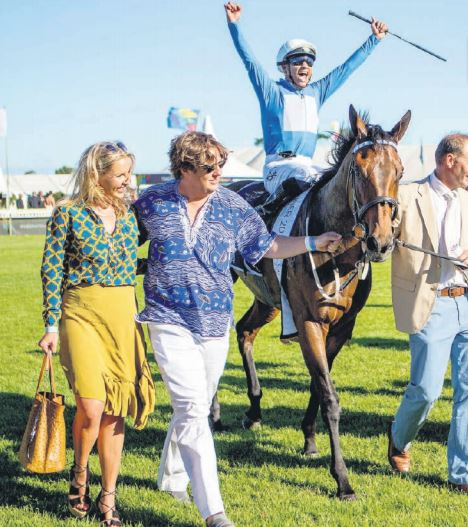 Jockey Grant van Niekerk celebrates after riding Oh Susanna to a win in the Sun Met at Kenilworth Racecourse in Cape Town on Saturday. v See all the fashion and glitz at the racecourse on Page 8. Picture: Crossing Live