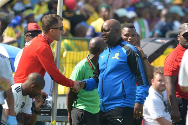Milutin Sredojevic of Orlando Pirates and Pitso Mosimane of Mamelodi Sundowns (Photo by Lefty Shivambu/Gallo Images)