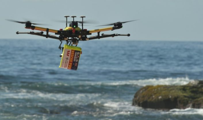 Along with spotting swimmers in trouble and dropping lifesaving devices to them, the drones are being used to spot predators such as sharks | © AFP/File | PETER PARKS