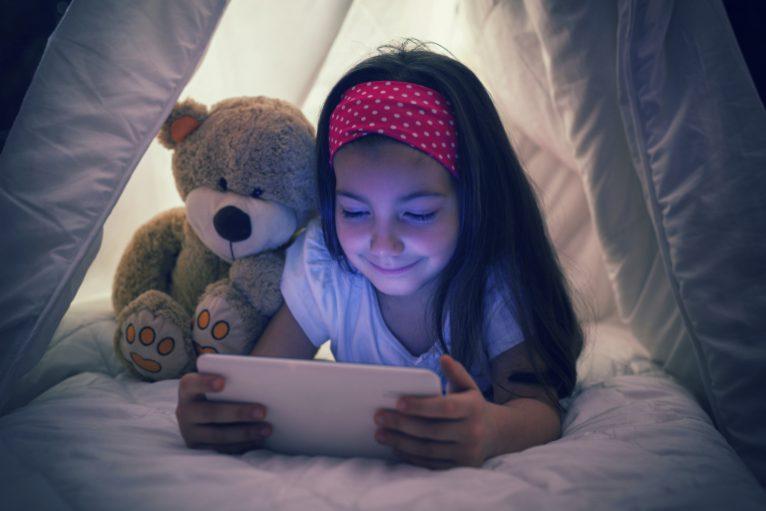 technology, teddy bear, child
