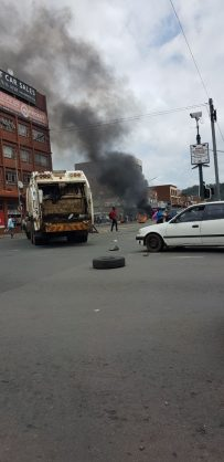 Scenes from the chaos as a result of the taxi strike in town