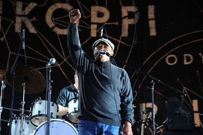 Music icon Hugh Masekela performs on the James Phillip stage at Oppikoppi Odyssey outside Northam, 09 August 2014, during a tribute concert in his honor. Picture: Refilwe Modise