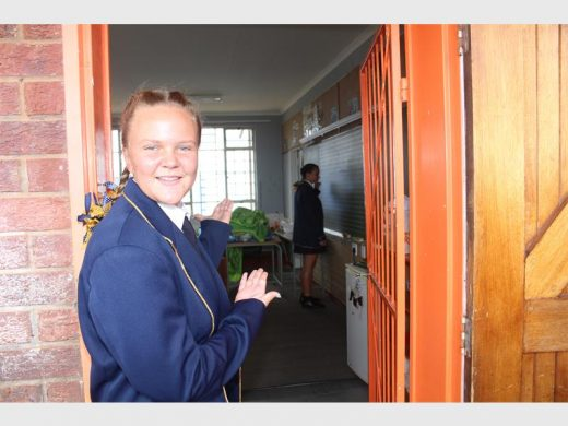 Izaan Venter welcomes the News to one of their brand-new classrooms. Photo: Bianca Pindral