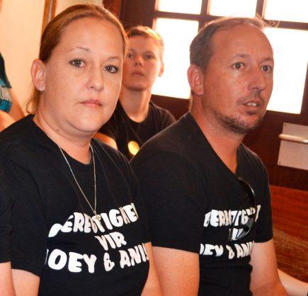 Rina Payne and Lourens Erasmus, sister and brother of Joey van Niekerk.