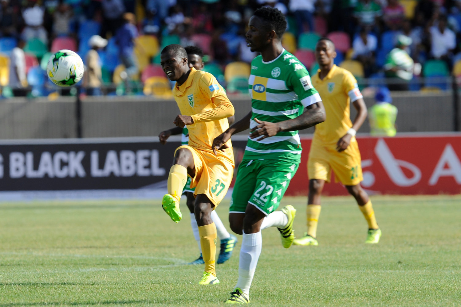 BLOEMFONTEIN, SOUTH AFRICA - JANUARY 07: Velemseni Ndwandwe of Golden Arrows  during the Absa Premiership match between Bloemfontein Celtic and Golden Arrows at Dr Molemela Stadium on January 07, 2018 in Bloemfontein, South Africa. (Photo by CharlŽ Lombard/Gallo Images)