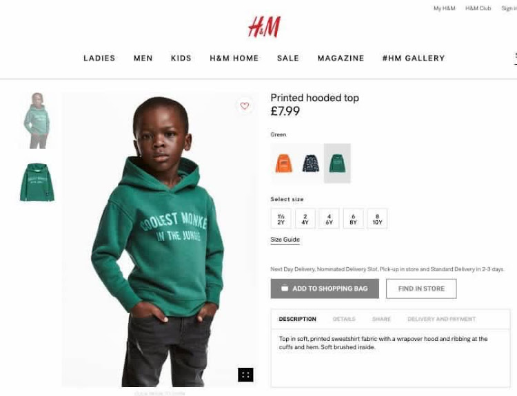 A generic photo of the hooded sweatshirt without the modelling child is still available online.