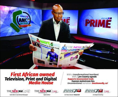 Mzwanele Manyi, the owner of the Gupta-linked ANN7 television news channel and The New Age newspaper. Facebook/ANN7