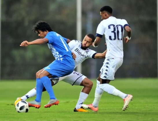 Joseph Stephan Kevin Perticots of Pamplemousses challenged by Reeve Frosler of Bidvest Wits during the 2018 CAF Champions League football match between Bidvest Wits and Pamplemousses. (Samuel Shivambu/BackpagePix)