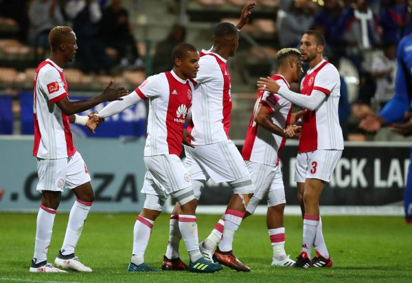 Fagrie Lakay of Ajax Cape Town celebrates goal with teammates during the Absa Premiership 2017/18 football match between Ajax Cape Town and SuperSport United at Athlone Stadium. (Chris Ricco/BackpagePix}
