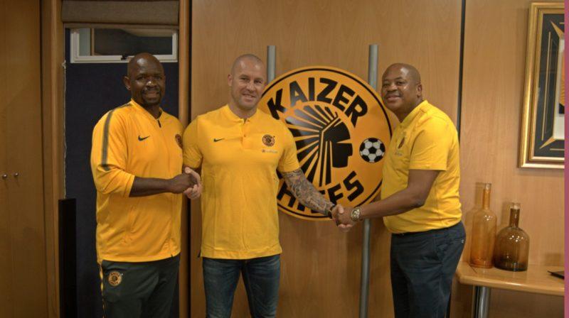 Kaizer Chiefs coach Steve Komphela with goalkeeper coach Lee Baxter and Amakhosi football manager Bobby Motaung.