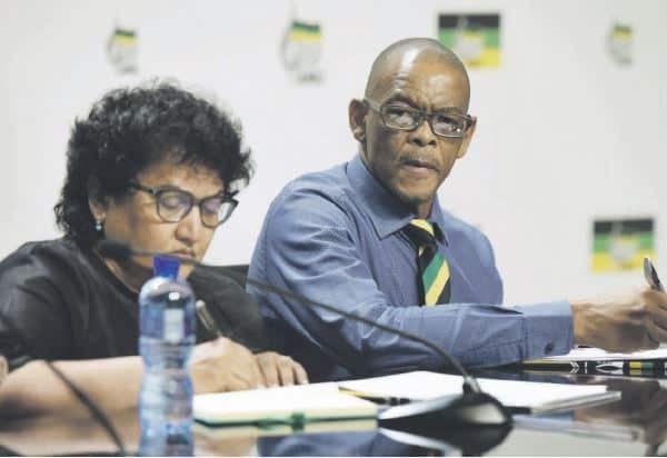 LIMELIGHT. ANC deputy secretary-general Jesse Duarte and secretary-general Ace Magashule brief media yesterday about the details of the ANC's recall of President Jacob Zuma. Picture: Neil McCartney