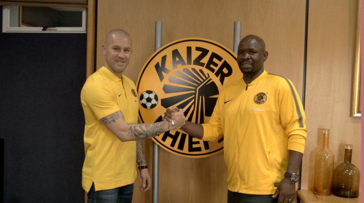 Kaizer Chiefs head coach Steve Komphela and goalkeeper coach Lee Baxter.